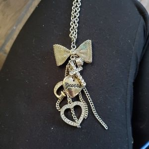 Guess Gold long charm necklace bow rhinestone